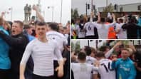 Derby Players Celebrate With Fans Outside Stadium After Avoiding Relegation On The Last Day