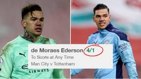 Ederson's Odds To Score During Manchester City Vs Tottenham Are Currently 4/1