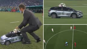 A Remote-Controlled Car Delivered The Match Ball Before Italy vs Turkey And It's Incredible
