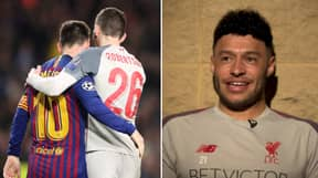 Alex Oxlade-Chamberlain Has A Framed Shirt Of Andy Robertson And Lionel Messi At Home