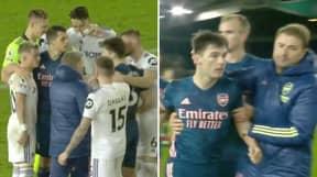 Granit Xhaka Pushes Teammate Kieran Tierney Away After He Tried To Confront Ezgjan Alioski