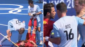 Shocking Scenes As Argentina Hockey Player Jabs Opponent In The Head With Stick While Down On The Ground