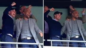 Prince William Celebrates Aston Villa's Promotion To The Premier League With John Carew