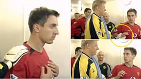Gary Neville Refusing To Shake Peter Schmeichel's Hand Before The Manchester Derby Is Still A Legendary Moment