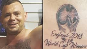 England Fan Gets 'England 2018 World Cup Winners' Tattooed On Himself