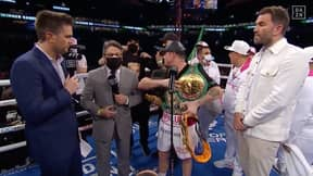 Canelo Kicks Jake Paul Super-Fans Out Of Ring During Post-Fight Interview