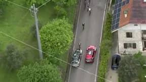 Australian Team Car Crashes Into Rival Cyclist During The Giro D'Italia