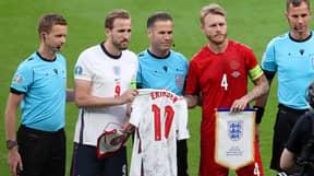 England Gift Signed Christian Eriksen Shirt To Denmark
