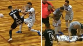 Brazilian Futsal Player Knocked Out And Rushed To Hospital After Karate Kick To The Head