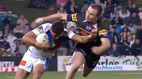 NRL Winger Starford To'a Produces Stiff-Arm That Sends His Opponent Flying Into The Air