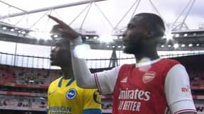 Arsenal Fans Are Convinced Nicolas Pepe Was Giving Yves Bissouma A Tour Of The Emirates At Full-Time