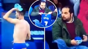 Deportivo Striker Lucas Perez Gives His Shirt To Confused Villarreal Fan