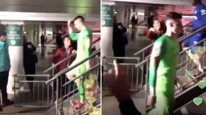 Chelsea Fan Refuses To Shake Hands With Kepa Arrizabalaga