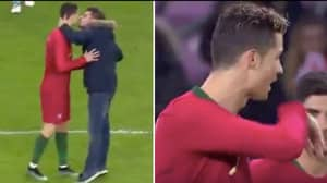 Pitch Invader Attempts To Kiss Cristiano Ronaldo During Portugal vs Netherlands Match