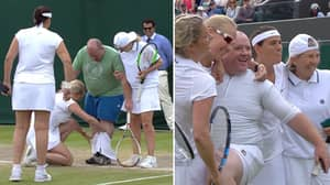 Wimbledon Spectator Dons White Skirt As He Joins Kim Clijsters On Court