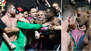 Saul 'Canelo' Alvarez And Daniel Jacobs Have To Be Pulled Apart At Weigh-In
