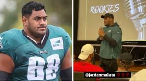 Aussie NFL Star Jordan Mailata Shows Off His Incredible Singing Voice At Philadelphia Eagles Team Meeting