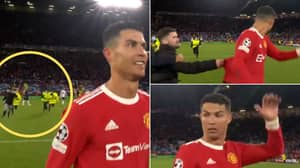 Crazed Fan Tries To Get Cristiano Ronaldo's Shirt, Steward Almost Takes Him Out In Bizarre Sequence