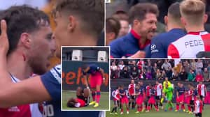 Crazy Brawl Erupts In Feyenoord Vs. Atletico Madrid Friendly, Diego Simeone Runs Onto The Pitch