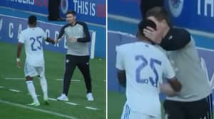 The Moment Real Madrid's Rodrygo Notices He's Standing Next To 'Legend' Steven Gerrard