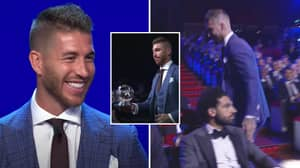 Mohamed Salah Was Seriously Not Impressed When Sergio Ramos Touched His Shoulder At Awards Ceremony