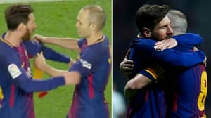 Andres Iniesta Tells Lionel Messi That He Loves Him As He Leaves Pitch