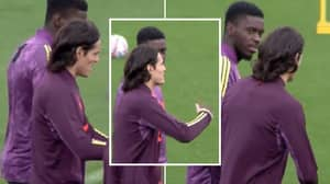 "Man Utd Fans Think Edinson Cavani Gave Axel Tuanzebe ""Tips"" On How To Defend Vs PSG"