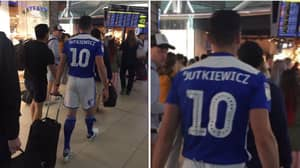 Birmingham Striker Lukas Jutkiewicz Spotted Wearing Full-Kit At Airport On The Way To His Stag Do