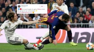 Barcelona Use Picture Of Luka Modric Pulling Lionel Messi's Shirt To Promote His Jersey On Official Store