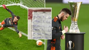 David De Gea Had Sheet Containing Villarreal Penalty Takers And Their Favoured Side, Still Didn't Save Any Penalties