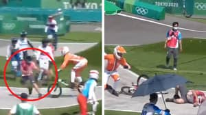 BMX Rider Collides With Olympics Official After They Casually Strolled Onto The Track Mid-Race