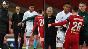 Real Madrid Boss Zinedine Zidane Spotted Smiling During Casemiro And Andy Robertson's Heated Clash