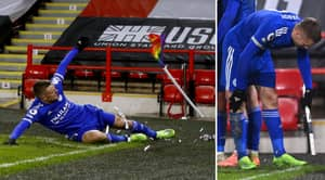 Jamie Vardy Smashes Corner Flag To Pieces Celebrating Leicester's Last Minute Winner Vs Sheffield United