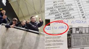 AFC Fylde Fans Prank Stadium Announcer With 'NE14 ABJ' Number Plate Prank