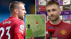 Luke Shaw Responds To Fan Who Faces 'Three-Year Ban' After Chucking Green And Gold Scarf At Him