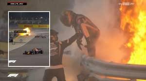 Grosjean Survives Huge F1 Crash After Car Exploded And Split In Two