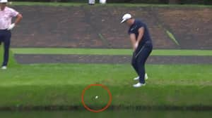 Jon Rahm Hits Hole-In-One By Skimming Golf Ball Across Water
