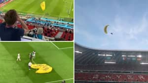 Fan Parachutes Into Allianz Arena And Nearly Crashes Into Crowd In Frightening Footage