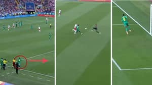 Senegal Player Cleverly Sneaks On The Pitch To Grab Goal