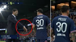 Lionel Messi Snubs Handshake From Mauricio Pochettino After Being Substituted With 15 Minutes To Go