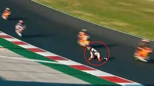 Scary Scenes As Moto2 Rider Crawls To Safety After Being Stranded On The Track