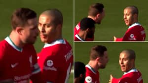 Footage Of Jordan Henderson Strongly Having A Go At Thiago Following His Foul Emerges Online