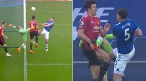 Jordan Pickford Gets Away With Booting Harry Maguire In The Penalty Area