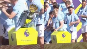 The Priceless Reaction When Manchester City Players Knock Over The Premier League Trophy