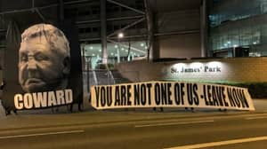 Newcastle Fans Send Message To Steve Bruce With Protest Outside St James Park