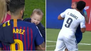 Luis Suarez's Toddler Bit His Dad's Shoulder During Barcelona's Title Celebrations