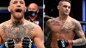 Conor McGregor Attempts To Kick Dustin Poirier At The Press Conference Face-Off For UFC 264