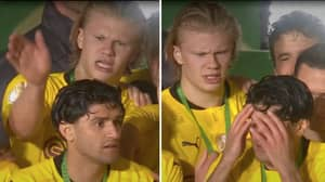 Erling Haaland Slaps Teammate Mahmoud Dahoud For Touching Trophy Too Early At Award Ceremony