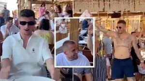 England Stars Kyle Walker, Luke Shaw, Declan Rice And Mason Mount Belt Out 'Sweet Caroline' On Holiday