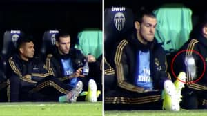 Gareth Bale Was Doing The Bottle Flip Challenge Whilst On The Bench Against Valencia